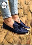 Lacivert Piramit Desen Hakiki Deri Erkek Klasik Ayakkabı