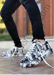 Siyah Beyaz Karışık Baskı Tasarım Erkek Spor Ayakkabı
