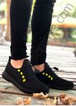 Siyah Sarı Triko Hafif Erkek Spor Ayakkabı