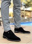 Siyah Süet Gümüş Detay Erkek Klasik Ayakkabı