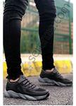 Siyah Füme Grid Desen Fileli Erkek Spor Ayakkabı