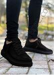 Siyah Kancalı Yüksek Taban Erkek Spor Ayakkabı