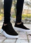 Siyah Beyaz Kancalı Yüksek Taban Erkek Spor Ayakkabı