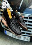 Siyah Desenli Hakiki Deri Püsküllü Erkek Klasik Ayakkabı