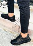 Siyah Desenli Hakiki Deri Erkek Ayakkabı