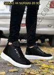 Serenze Oliver Siyah - Beyaz Kancalı Kalın Taban Bot Model Spor Ayakkabı