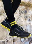 Siyah Sarı Yazı Detay Erkek Spor Ayakkabı