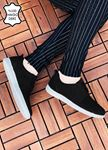 Siyah Hakiki Deri Delikli Spor Model Erkek Ayakkabı