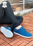 Mavi Hakiki Deri Delikli Spor Model Erkek Ayakkabı