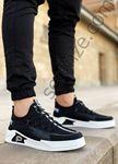 Siyah Beyaz Çizgi Detay Erkek Spor Ayakkabı